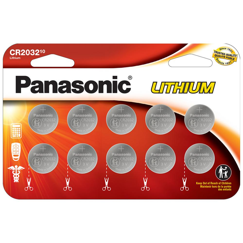 Panasonic CR2032 Lithium Coin Cell Batteries (10-pack)