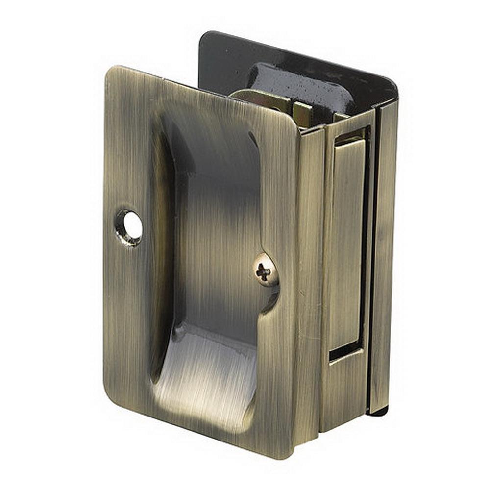 Onward 3-7/32 in. Antique Brass Pocket Door Pull with Passage Handle