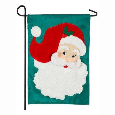 18 in. x 12.5 in. Jolly St. Nick Garden Applique Flag