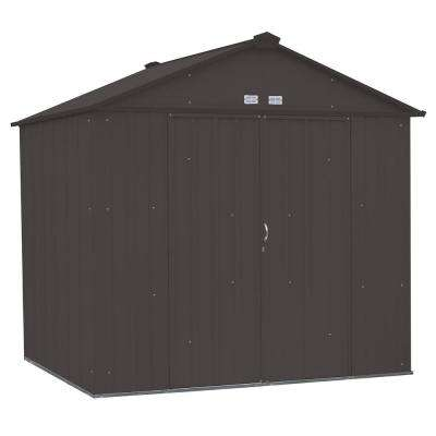 EZEE Shed 8 ft. x 7 ft. Galvanized Steel Charcoal High Gable