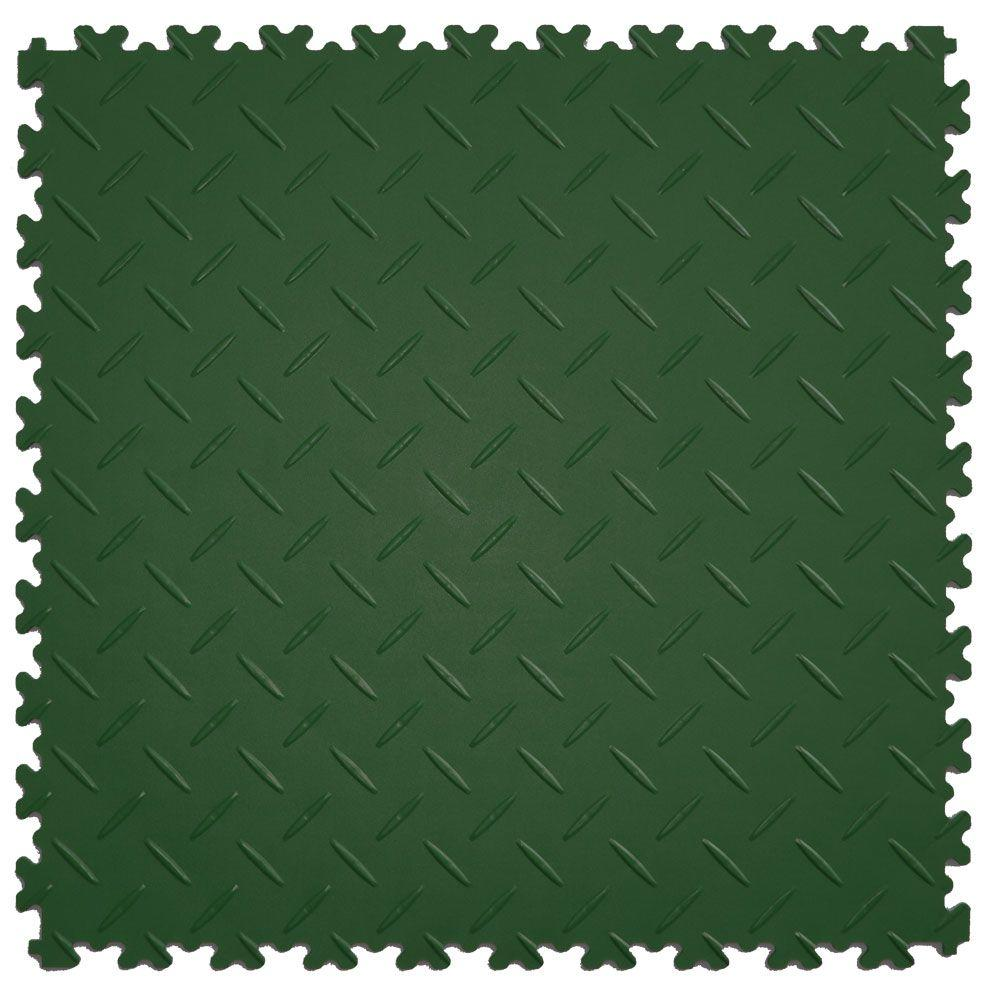 IT-tile Diamond Plate Forest Green 20.5 in. x 20.5 in. Residential & Commercial Interlocking Multi-Purpose Flooring Tile