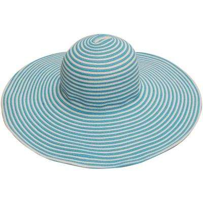 Wide Brim Blue/White Stripe Ladies Hat