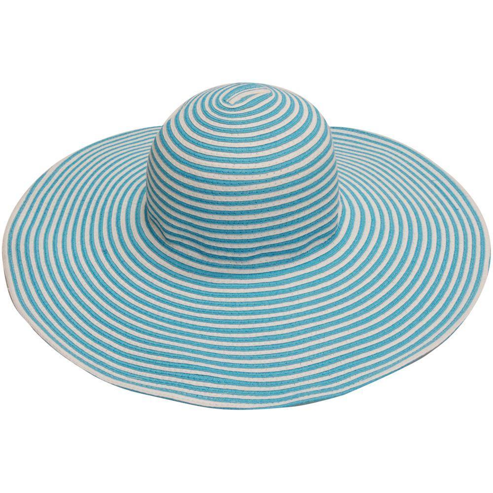 Wide Brim Blue/White Stripe Ladies Hat