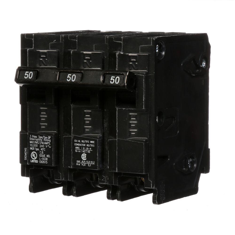 Siemens 50 Amp 3-Pole Type QP Circuit Breaker