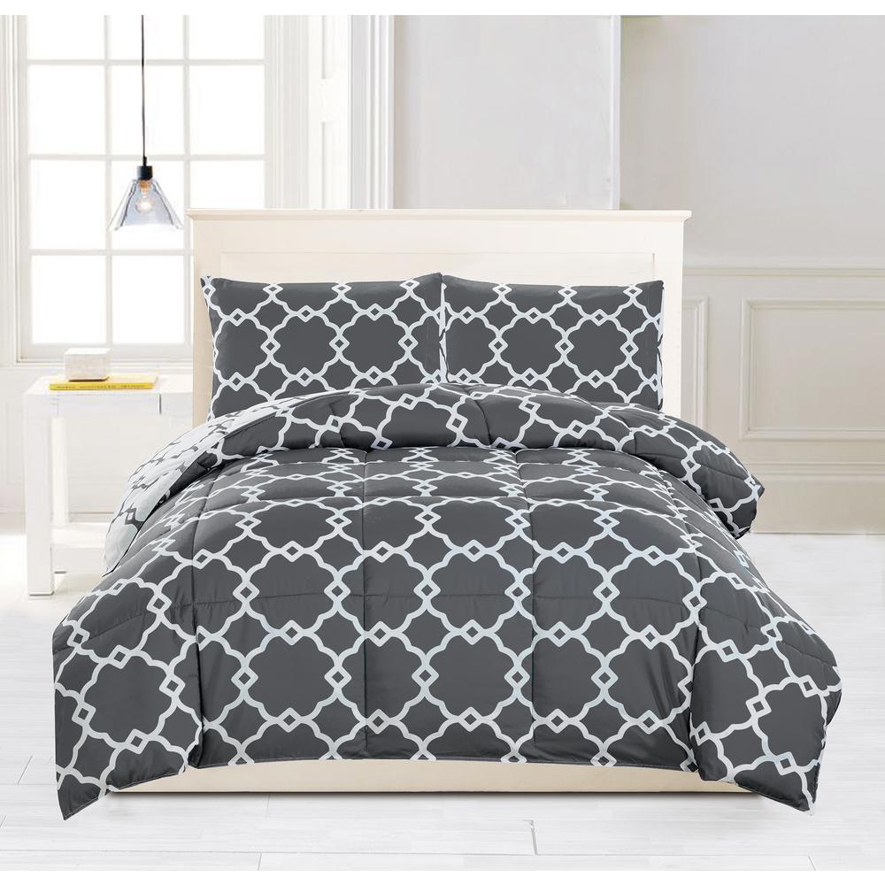 Greyson Down Alternative Reversible Grey King Comforter Set
