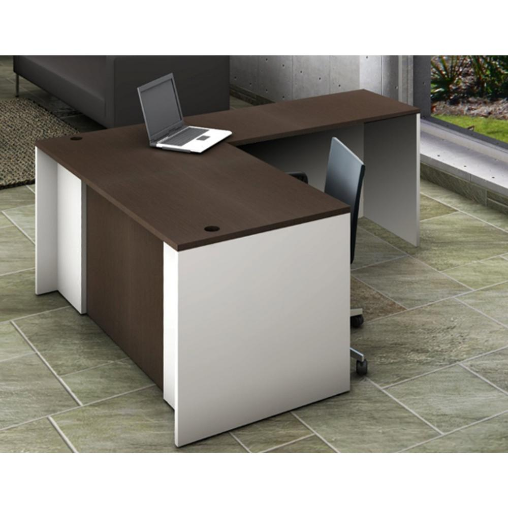 Superieur OfisLITE 2 Piece White/Espresso Office Reception Desk Collaboration Center