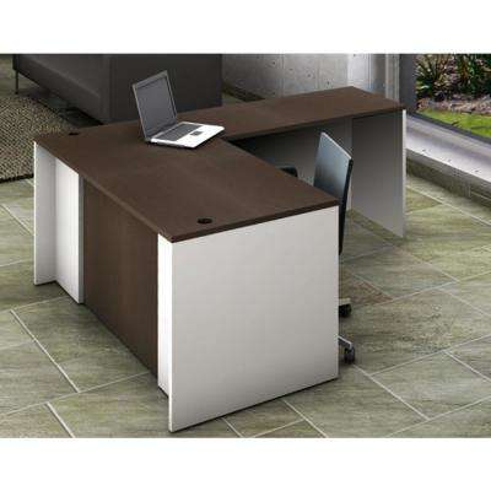 2-Piece White/Espresso Office Reception Desk Collaboration Center