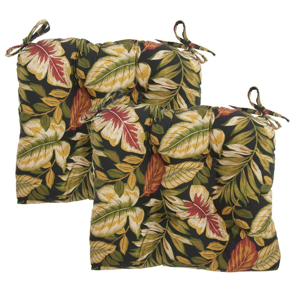 Hampton Bay Twilight Palm Tufted Outdoor Seat Pad (2-Pack)