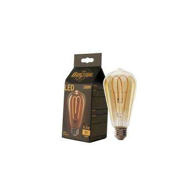 40W Equivalent ST19 Dimmable LED Amber Glass Vintage Edison Light Bulb With M-Type Filament Soft White (12-Pack)