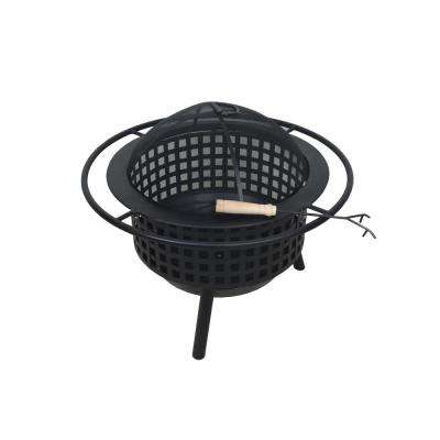 Krakatoa 26.8 in. Circular Lattice Metal Wood Burning Outdoor Fire Pit in Black