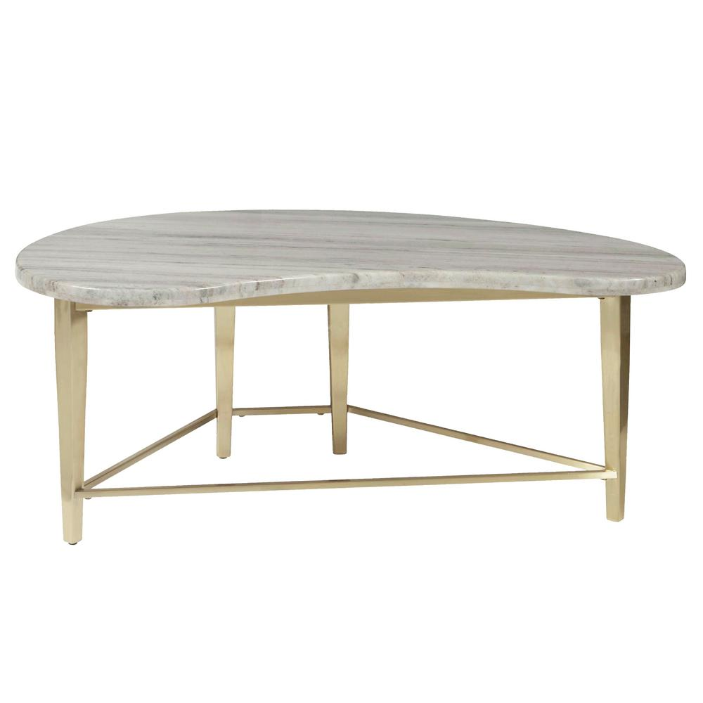 HomeFare Kidney Shaped Marble Top Cocktail Table-D198-211