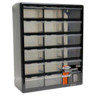 18-Compartment Storage Small Parts Organizer in Black
