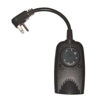 24-Hour Outdoor Timer with Photocell Light Sensor - Black