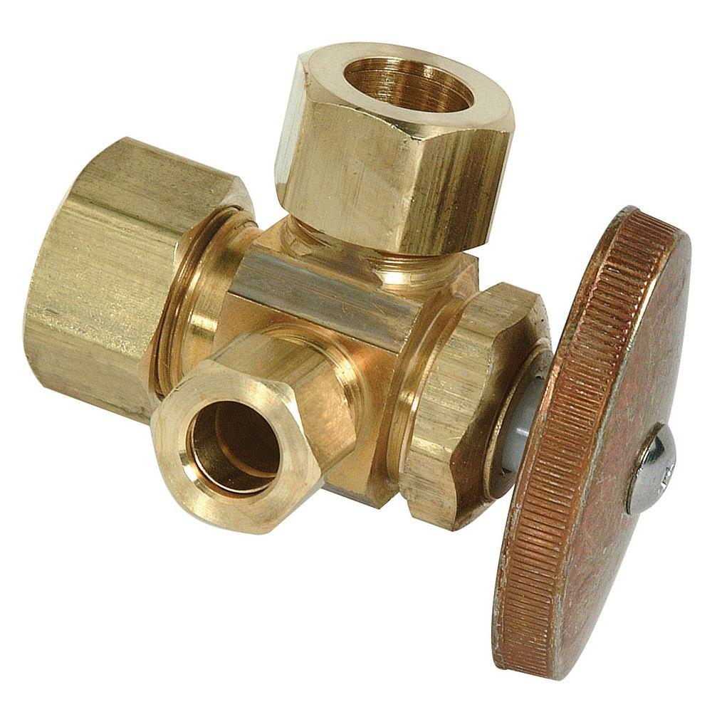 BrassCraft 1/2 in. Nominal Compression Inlet x 3/8 in. O.D. Compression x 3/8 in. O.D. Compression Dual Outlet Multi-Turn Valve