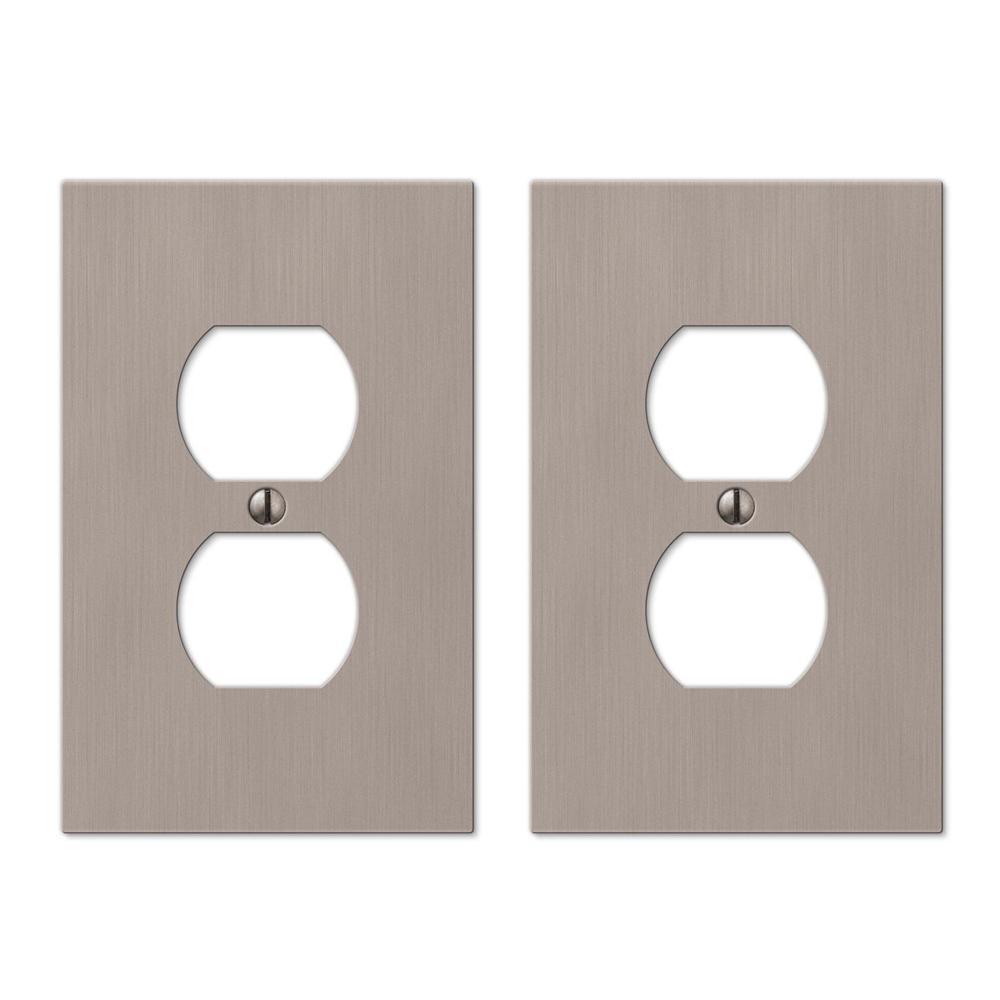 Barnard 1 Gang Duplex Metal Wall Plate - Brushed Nickel (2-Pack)