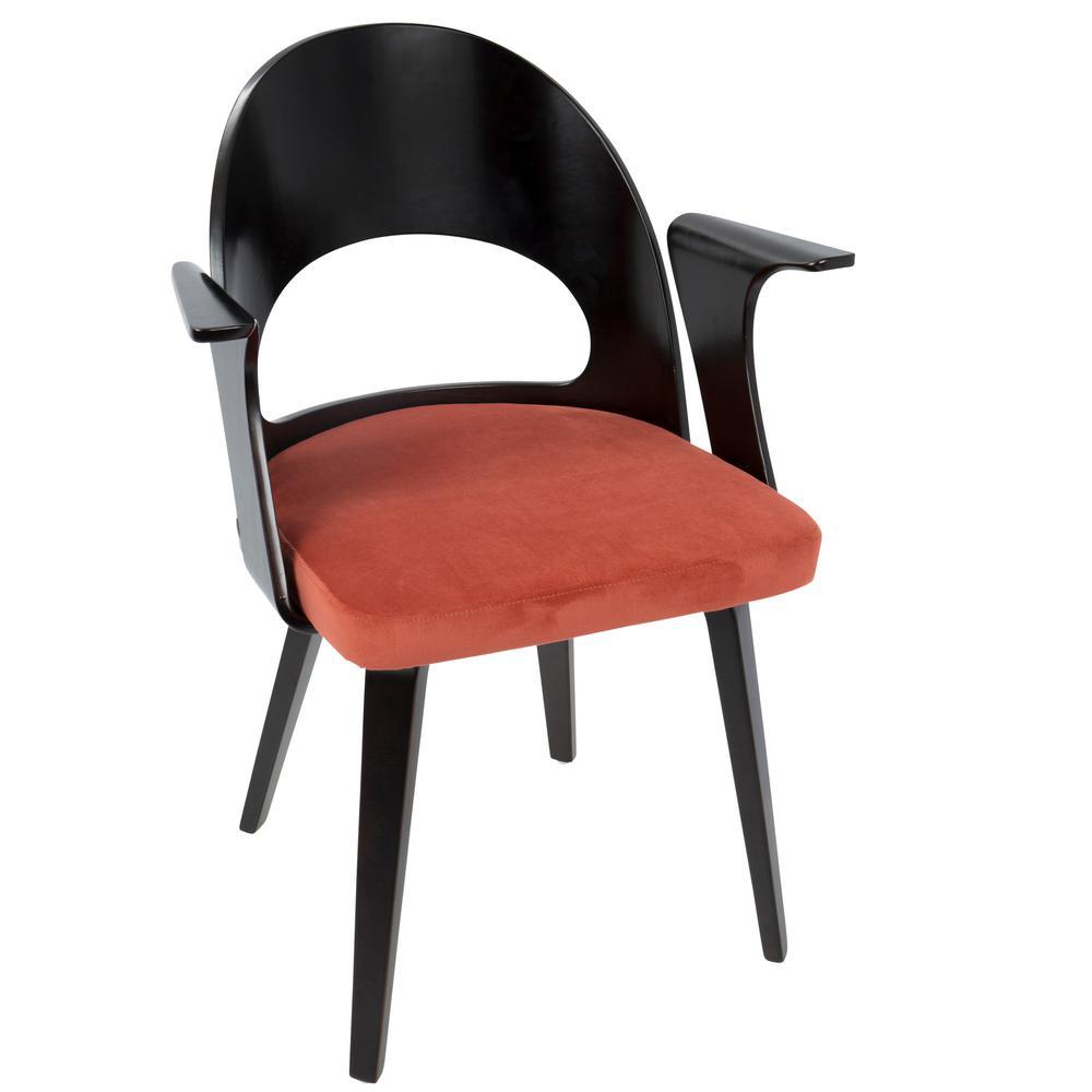 Verino Mid-Century Espresso and Orange Velvet Modern Dining Chair