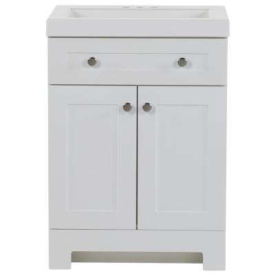 Everdean 24.5 in. W x 19 in. D x 34 in. H Bath Vanity in White with Cultured Marble Vanity Top in White with White Basin