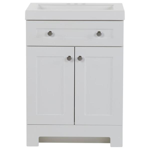 Everdean 24.50 in. W x 18.75 in. D Bath Vanity in White with Cultured Marble Vanity Top in White with White Basin