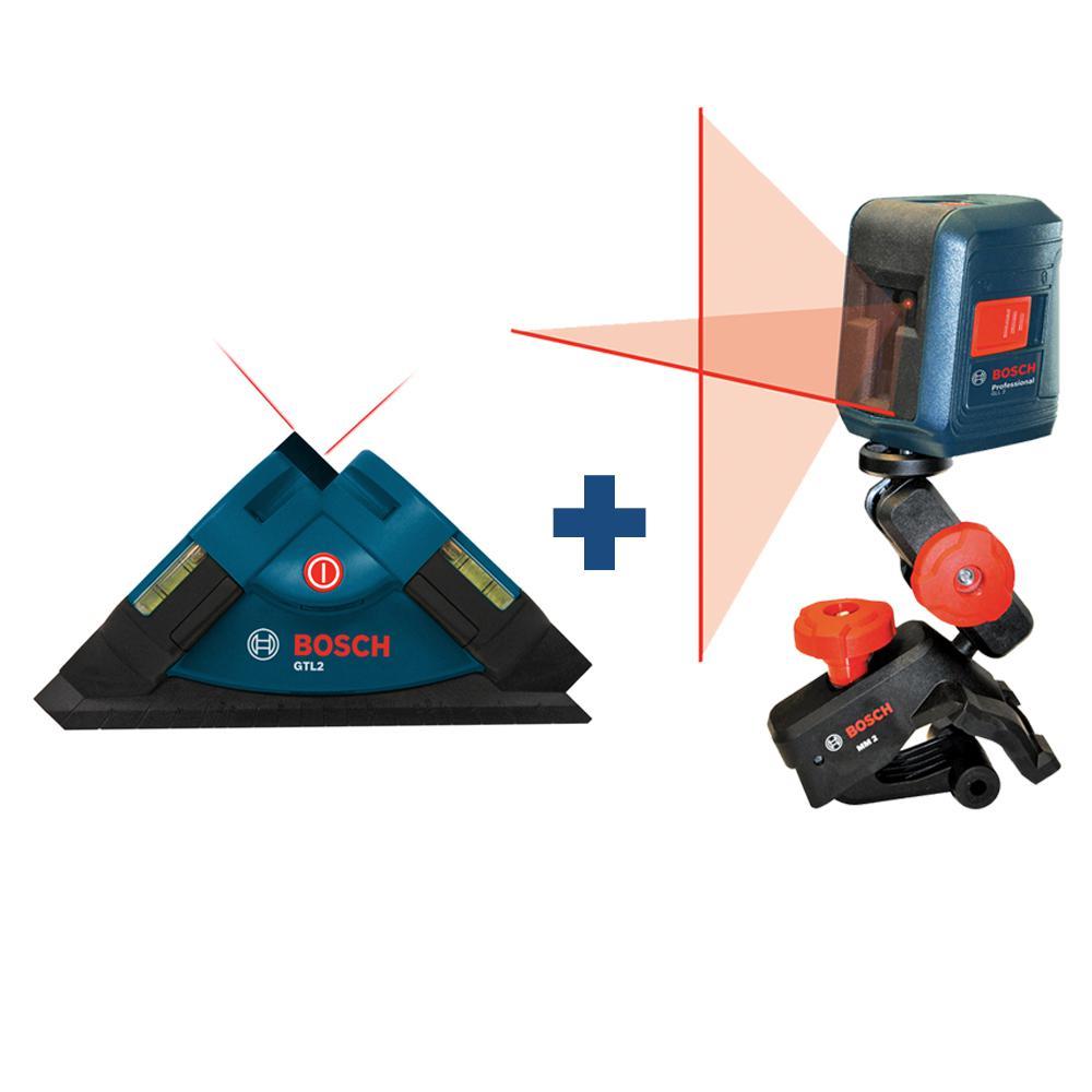 Bosch Tile Laser Square Laser Level with Bonus Cross Line Generator Laser Level with Clamping Mount