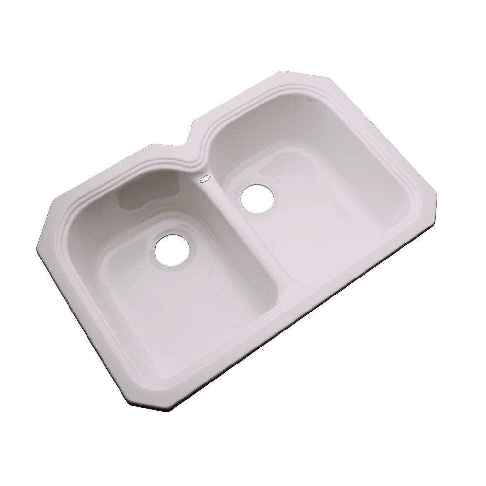 Thermocast Hartford Undermount Acrylic 33 in. Double Bowl Kitchen Sink in Innocent Blush