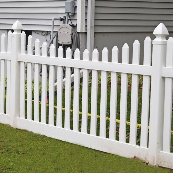 Weatherables Hampshire 4 Ft H X 6 Ft W White Vinyl Picket Fence Panel Kit Pwpi 3r5 5sc4x6 The Home Depot