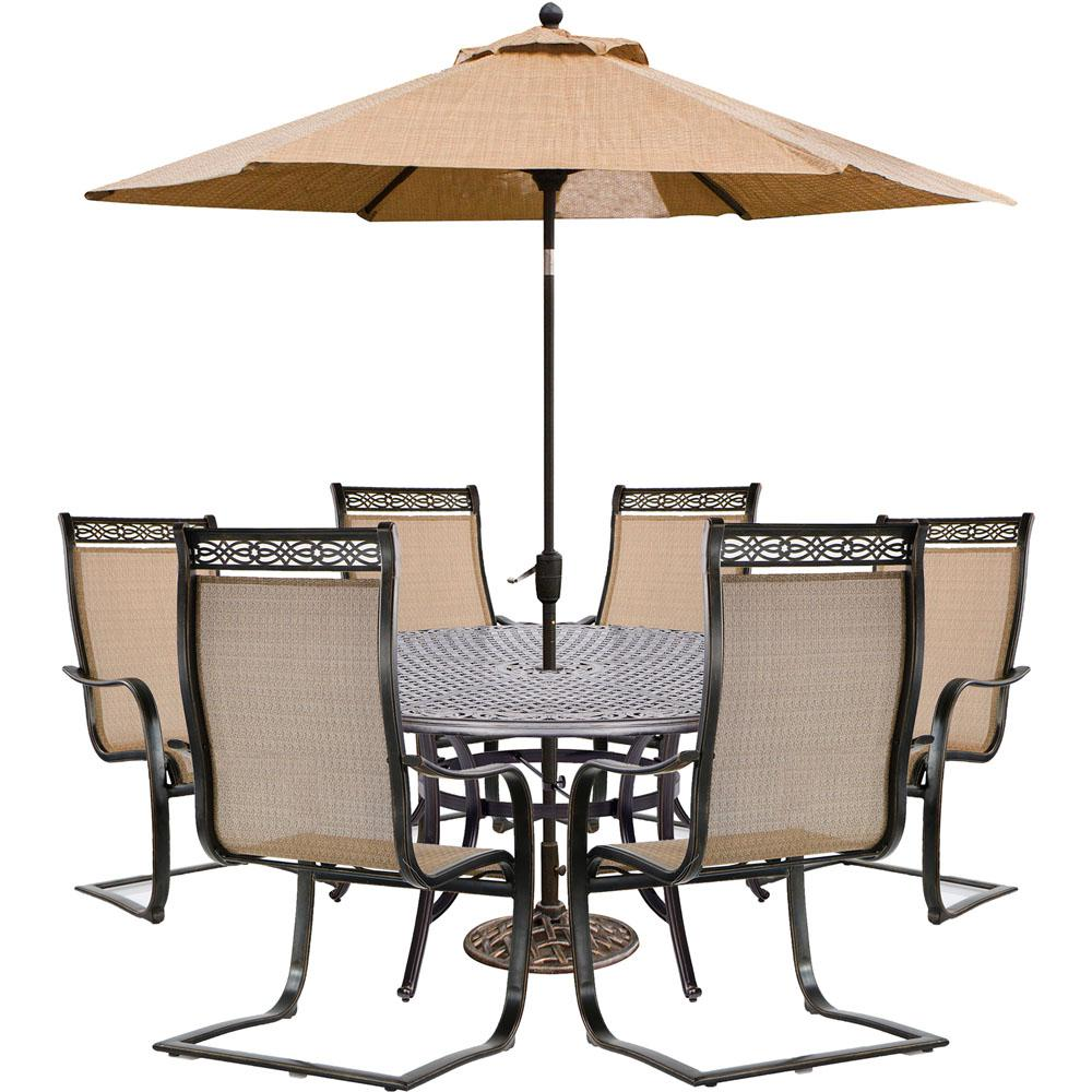 Manor 7 Piece Sling Outdoor Dining Set With 6 C Spring Chairs Cast Top Table 9 Ft Umbrella And An Stand