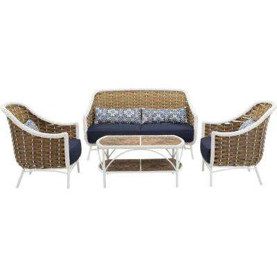 Athens 4-Piece All-Weather Wicker Patio Seating Set with Navy Blue Cushions