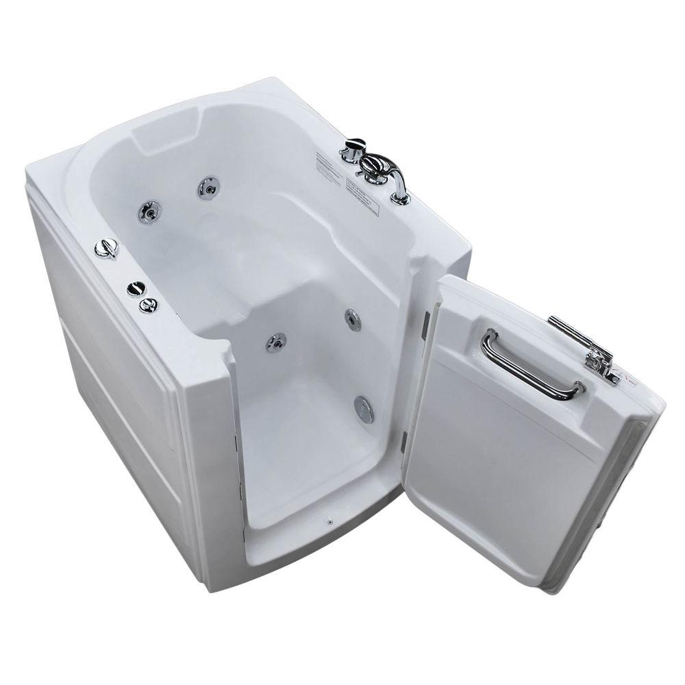Universal Tubs Nova Heated 3 2 Ft Walk In Whirlpool Bathtub In White With Chrome Trim H3238rwhch The Home Depot