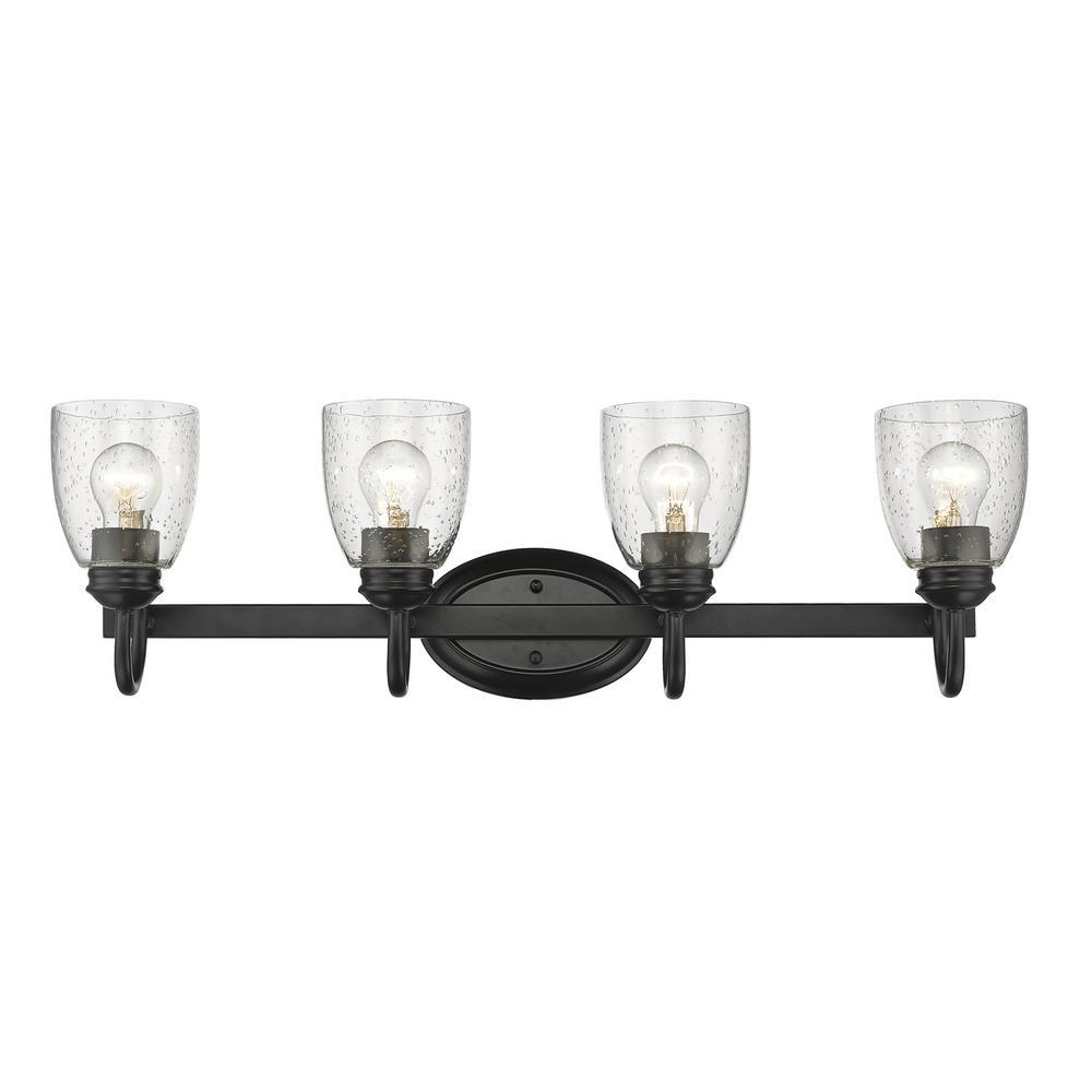 Golden Lighting Parrish 4 Light Black Bath 8001 Ba4 Blk Sd The Home Depot