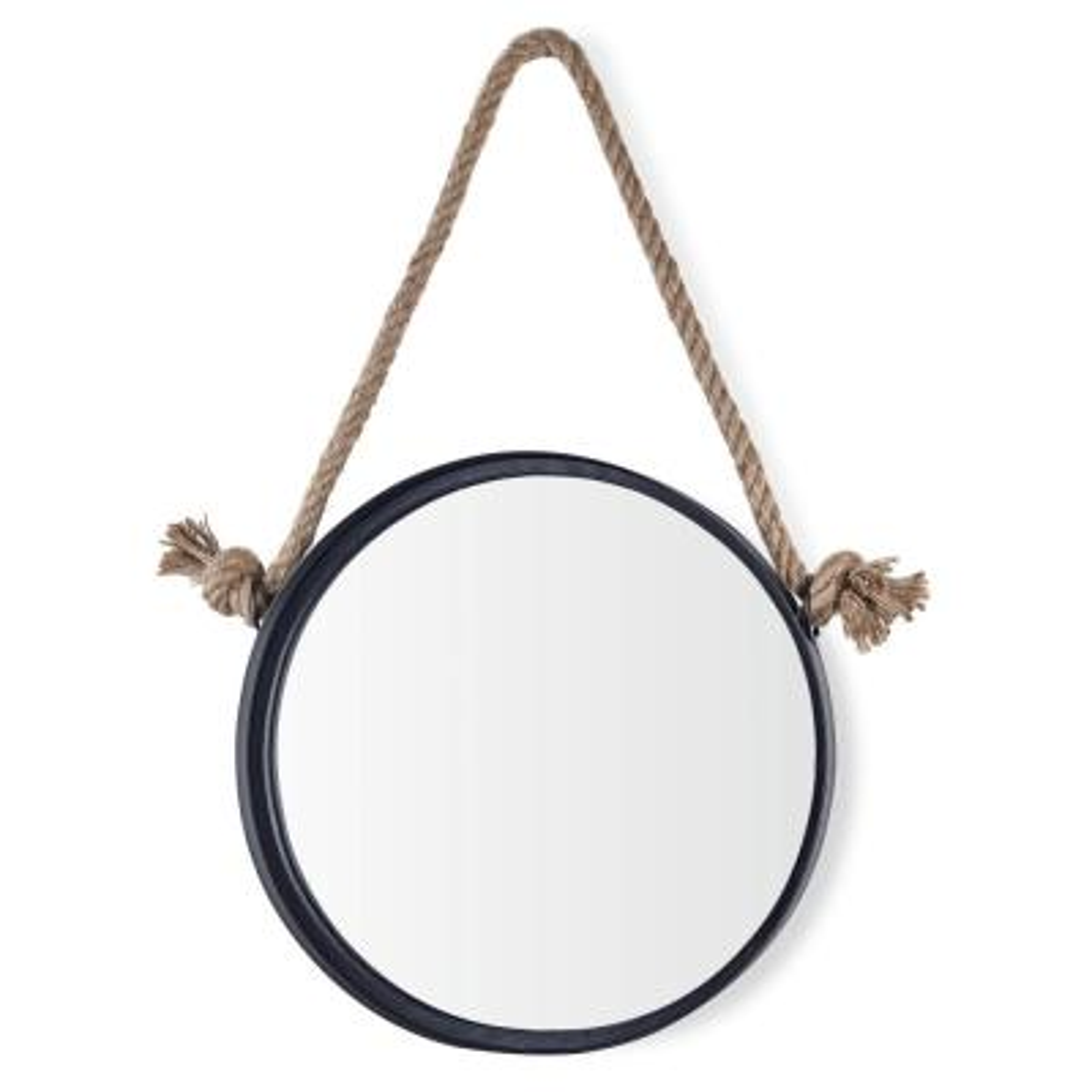 Medium Round Black Contemporary Mirror (25.5 in. H x 14.625 in. W)