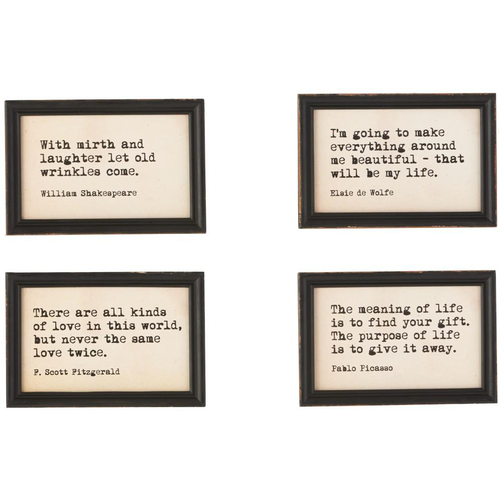 3R Studios 9 in. H x 6 in. W Famous Quotes Framed Wall Art (Set of 4 ...