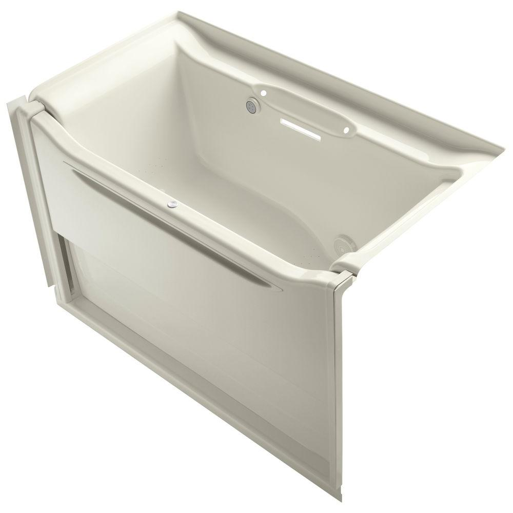 KOHLER Elevance 5 ft. Rectangle Air Bath Tub in Biscuit-K-1914-GR-96 ...