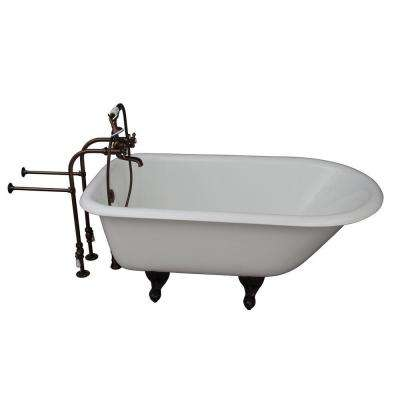 4.5 ft. Cast Iron Ball and Claw Feet Roll Top Tub in White with Oil Rubbed Bronze Accessories