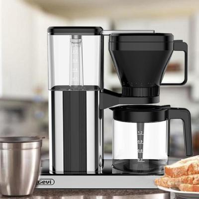 10-Cup Black One-Touch Coffee Machine, Coffee Machine with Glass Bottle