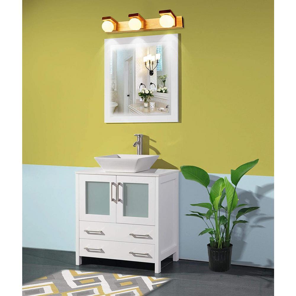 Ravenna 30 in. W x 18.5 in. D x 36 in. H Bathroom Vanity in White with Single Basin Top in White Ceramic and Mirror