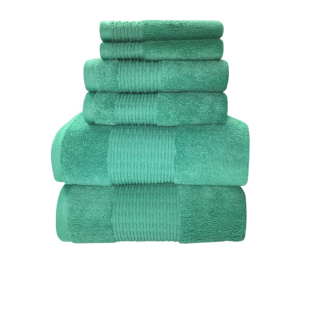 Luna 6-Piece 100% Cotton Bath Towel Set in Wasabi