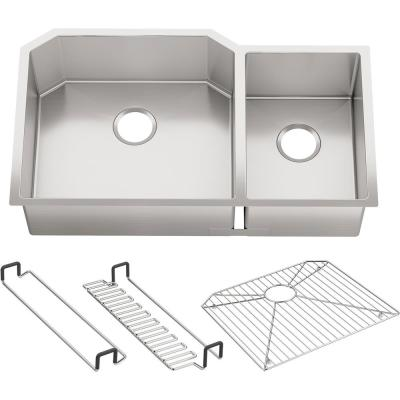 Strive Undermount Stainless Steel 36 in. Double Bowl Kitchen Sink Kit with Bowl Rack