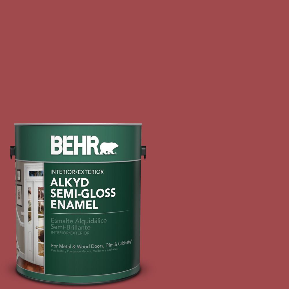 1 gal. #ICC-107 Crimson Semi-Gloss Enamel Alkyd Interior/Exterior Paint