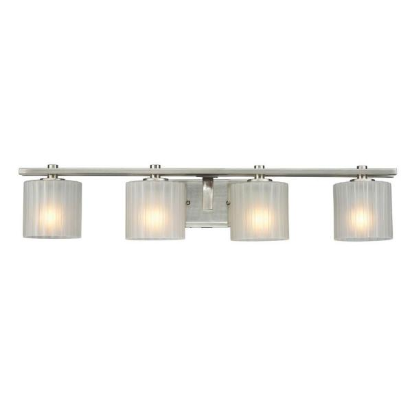 Sheldon 4-Light Brushed Nickel Vanity Light with Frosted Glass Shades