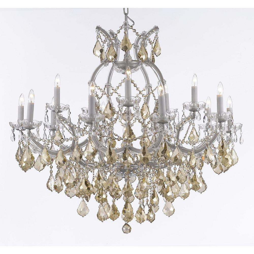 Maria Theresa 16 Light Empress Crystal Chandelier Silver With Golden Teak Crystals