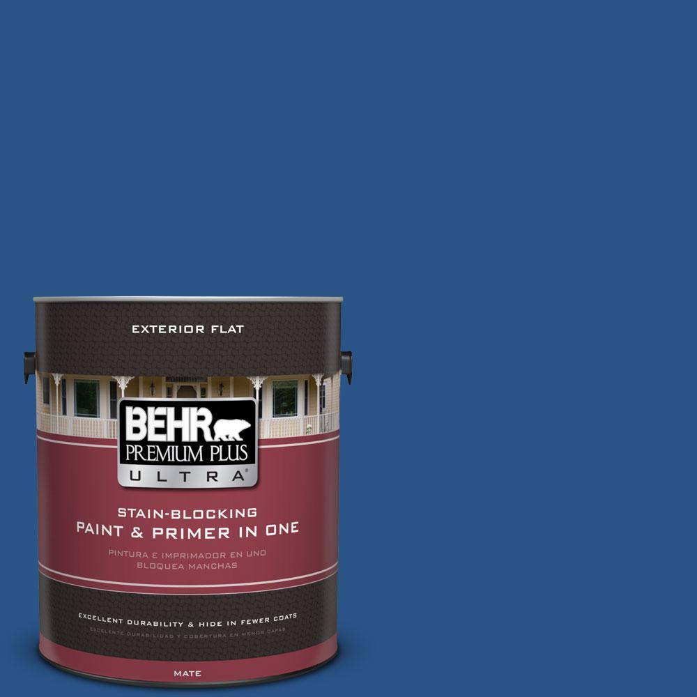 BEHR Premium Plus Ultra 1-gal. #590B-7 Award Blue Flat Exterior Paint