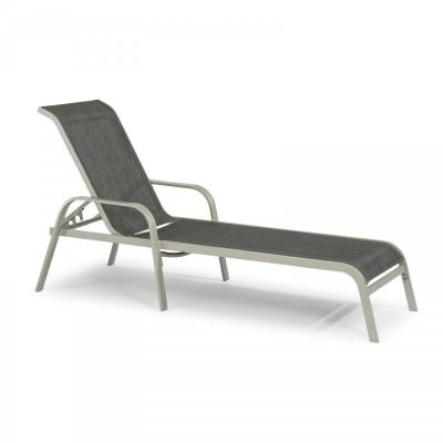 Captiva Charcoal Gray Reclining Cast Aluminum Outdoor Lounge Chair and Side Table
