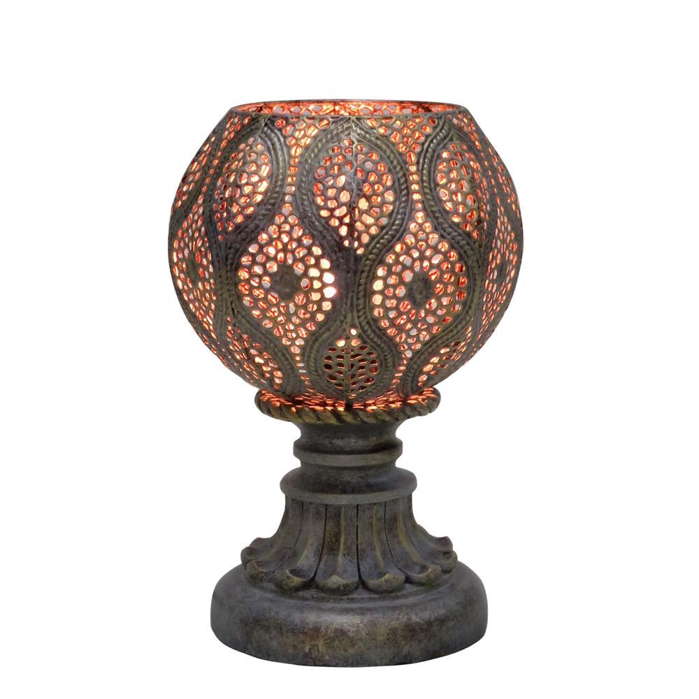 9 in. Rust Grey Moroccan Filigree Pedestal Metal Uplight