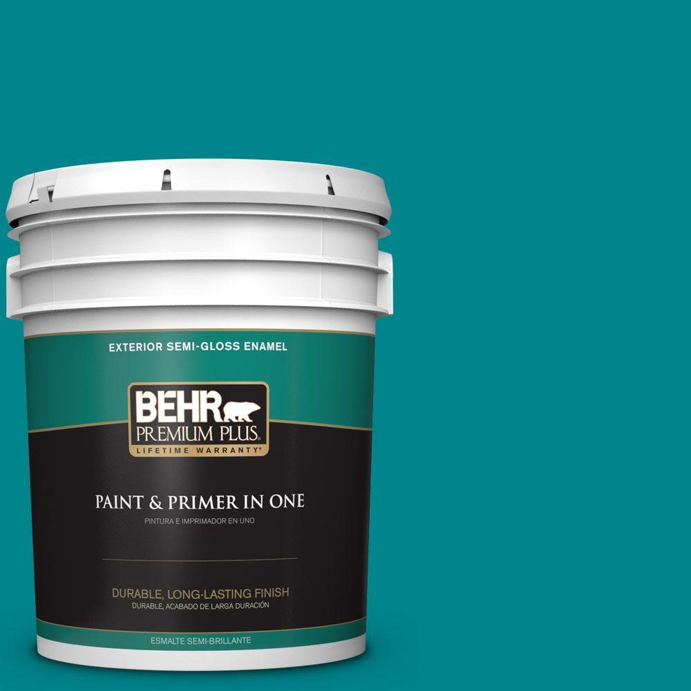 BEHR Premium Plus 5-gal. #500B-7 Tucson Teal Semi-Gloss Enamel Exterior Paint