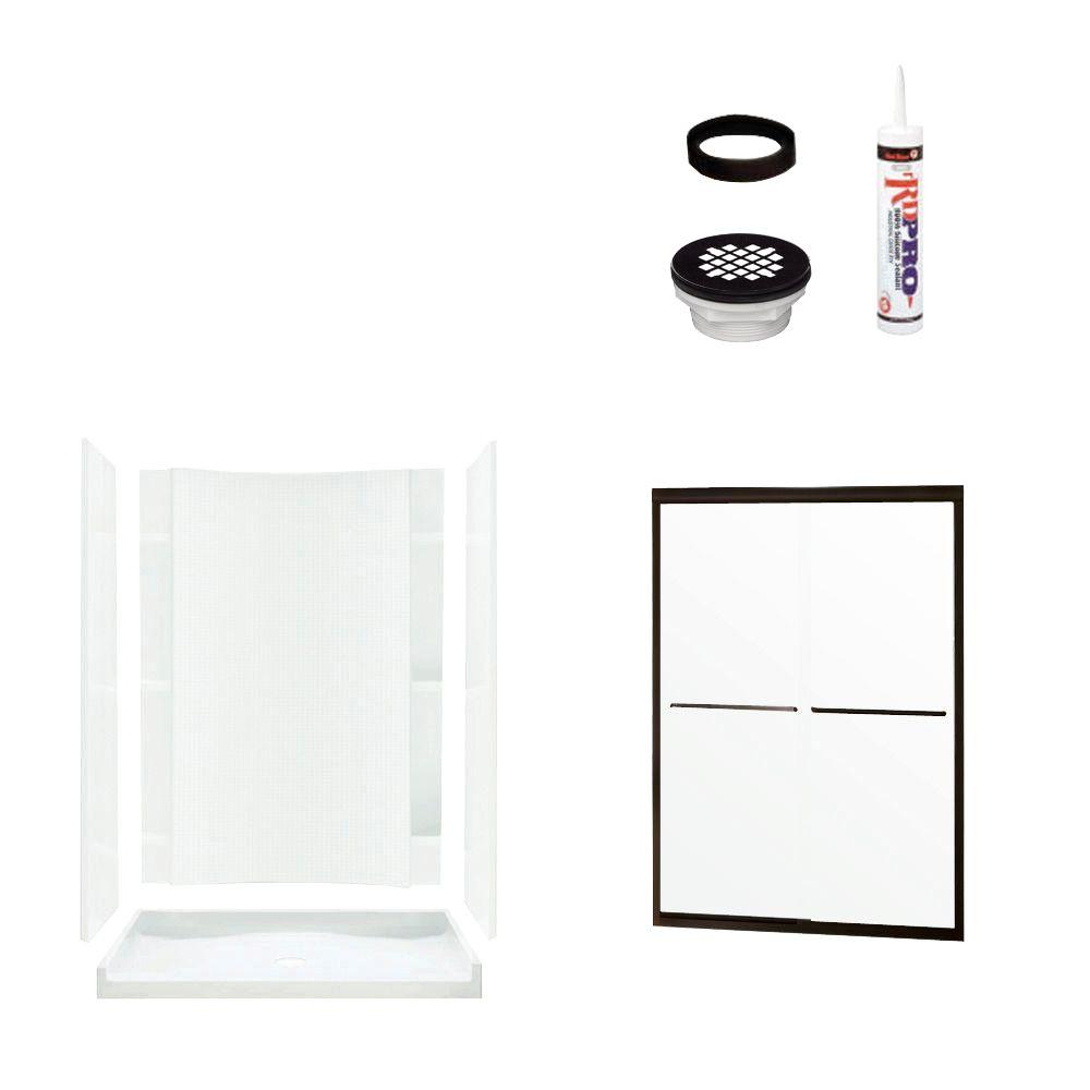 STERLING Accord 36 in. x 60 in. x 77 in. Shower Kit with Shower Door in White/Oil Rubbed Bronze-DISCONTINUED