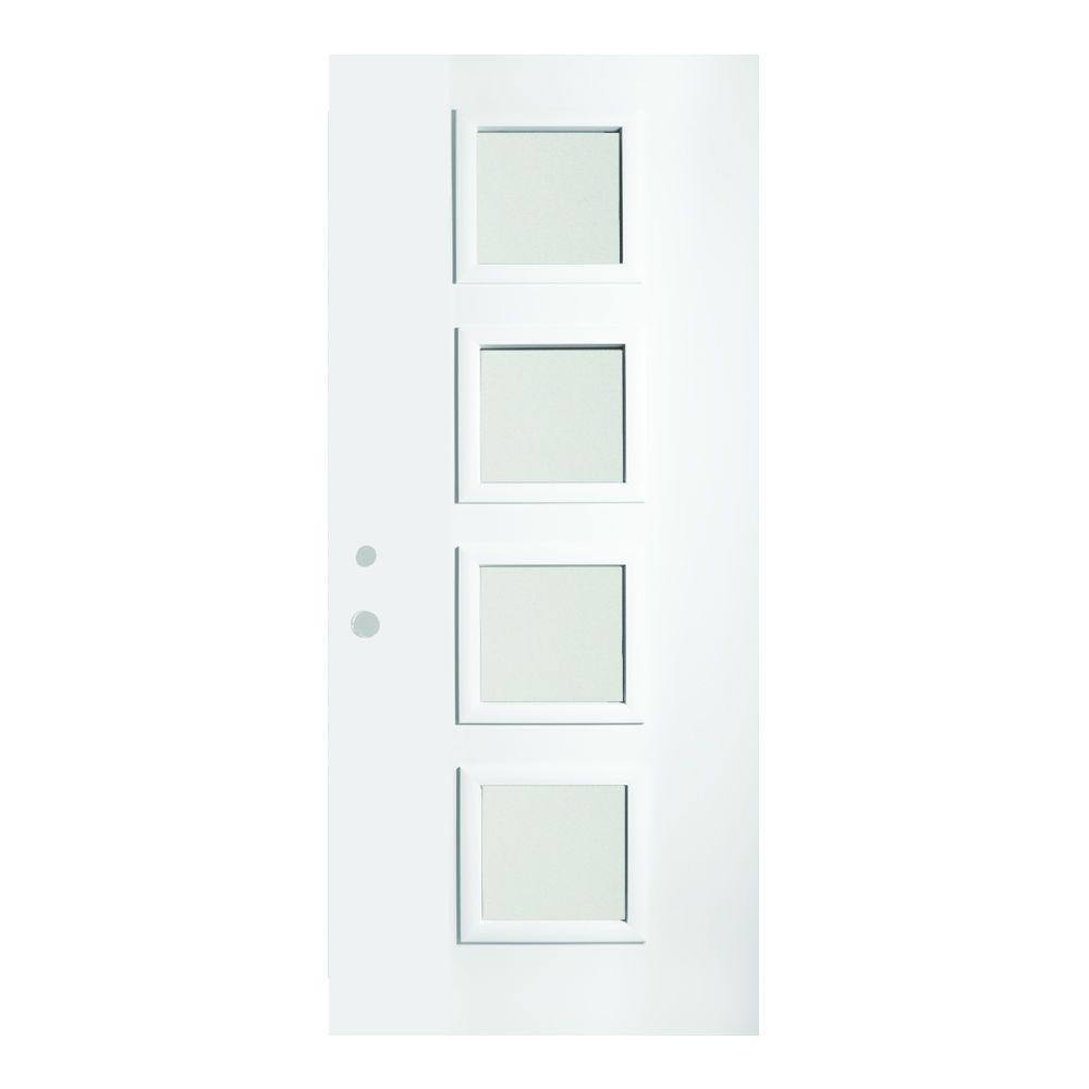 Stanley Doors 37.375 in. x 82.375 in. Evelyn Satin Opaque 4 Lite Painted White Right-Hand Inswing Steel Prehung Front Door