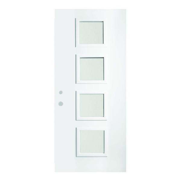 Stanley Doors 36 In X 80 In Evelyn Satin Opaque 4 Lite Painted White Right Hand Inswing Steel Prehung Front Door 1906q 36 R The Home Depot