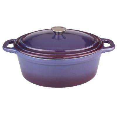 Neo 8 Qt. Oval Cast Iron Purple Casserole Dish with Lid