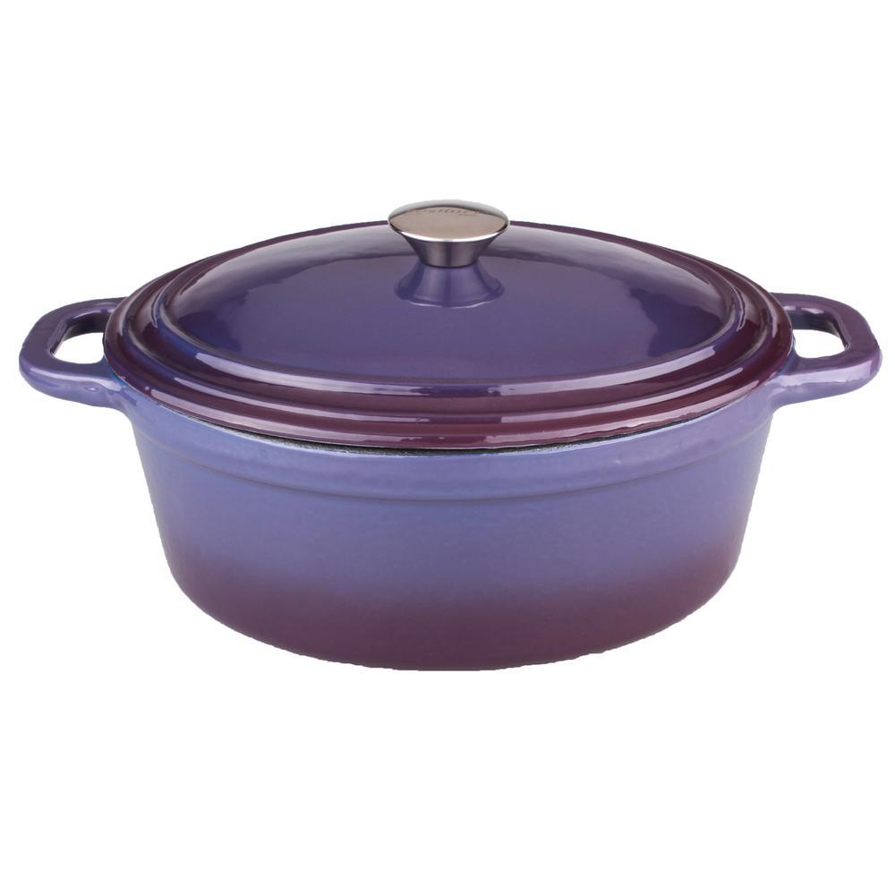 Neo 8 Qt. Oval Cast Iron Purple Casserole Dish with Lid