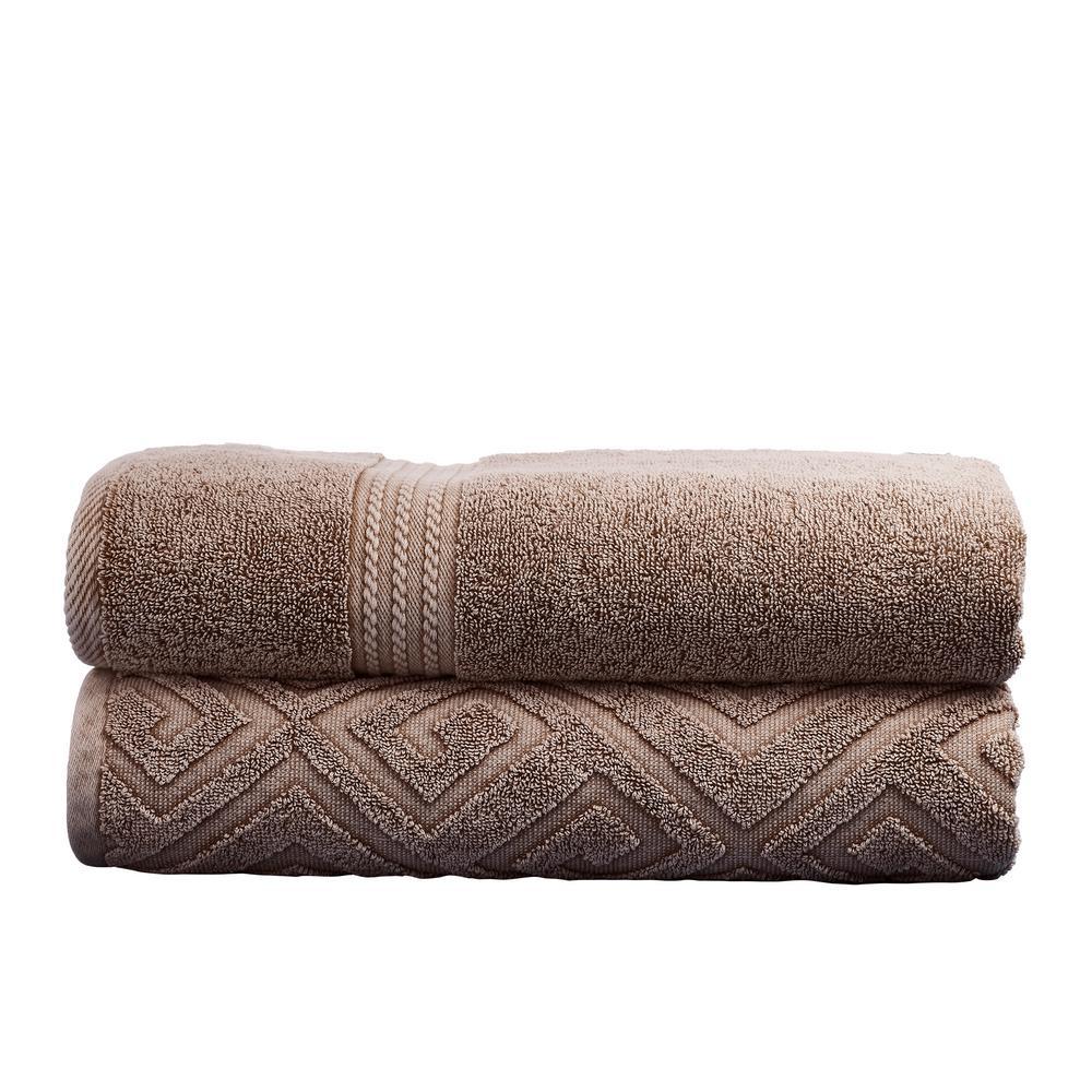 2-Pack Denim Washed Deco Diamond Bath Towel Set in Mocha